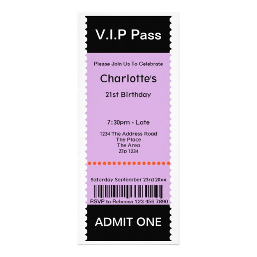 VIP Pass Party Admission Ticket Personalized Invitation
