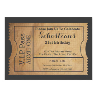 "VIP Pass Party Admission Ticket Old Paper Style 5"" X 7"" Invitation Card"