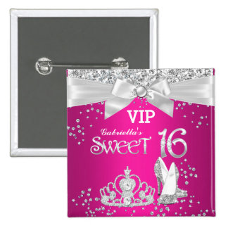 VIP Pass Sparkle Tiara Heels Sweet 16 Pink 2 Inch Square Button
