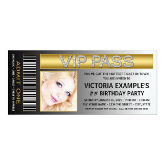 "VIP Pass Ticket Birthday Party 4"" X 9.25"" Invitation Card"