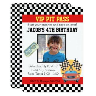 VIP Pit Pass Racing Birthday Invitation