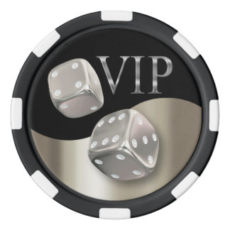 VIP Rolling Dice Las Vegas silver black Poker Chips