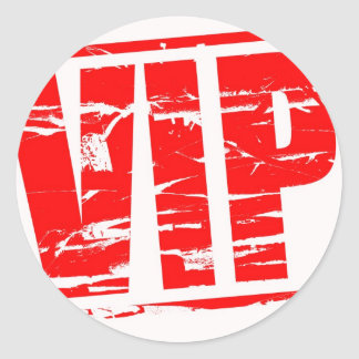 VIP rubber stamp effect Classic Round Sticker
