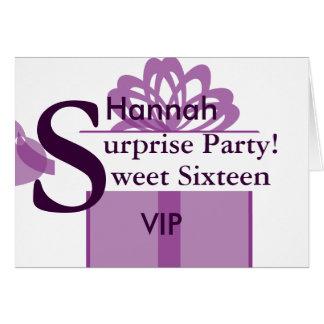 VIP Surprise Party Sweet Sixteen Invitation!-Cust. Card