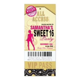 VIP Sweet 16 Ticket (fuschia khaki) Card