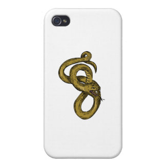 Viper Coiled Ready To Pounce Drawing Case For iPhone 4