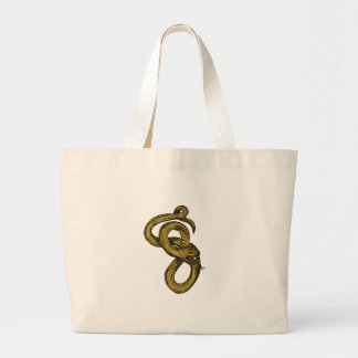 Viper Coiled Ready To Pounce Drawing Large Tote Bag
