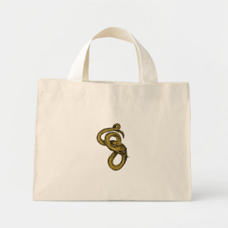 Viper Coiled Ready To Pounce Drawing Mini Tote Bag