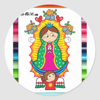VIRGEN DE GUADALUPE CARICATURA 01 CUSTOMIZABLE PRO CLASSIC ROUND STICKER