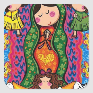 VIRGEN DE GUADALUPE CARICATURA 05 CUSTOMIZABLE PRO SQUARE STICKER