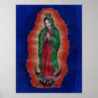 Virgen de Guadalupe Colored Pencil Art Poster