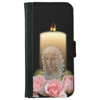 Virgen Mary Candle and Roses iPhone 6 Wallet Case