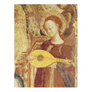Virgin and Child Enthroned with six angels Postcard