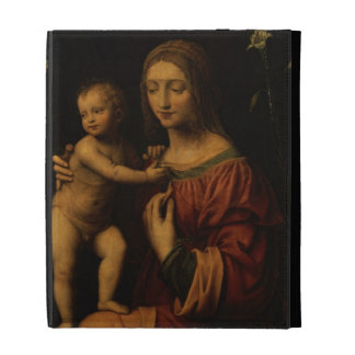 Virgin and Child (oil on panel) 2 iPad Folio Cover