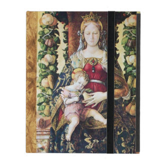 VIRGIN AND CHILD RED RUBY MONOGRAM Brown Parchment iPad Cases