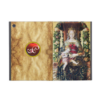 VIRGIN AND CHILD RED RUBY MONOGRAM,Brown Parchment Covers For iPad Mini