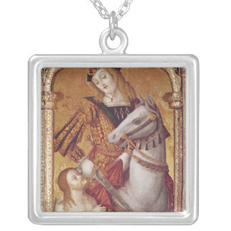 Virgin and Child with SS. Gregory and Martin Silver Plated Necklace