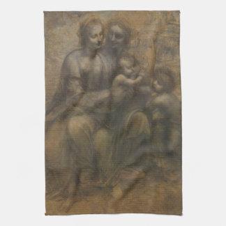 Virgin and Child with St Anne by Leonardo da Vinci Kitchen Towel