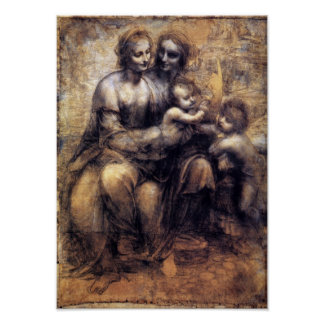 Virgin and Child with St. Anne sketch Poster