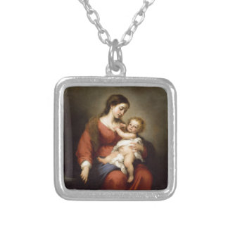 Virgin and Christ Child Silver Plated Necklace