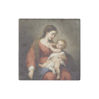 Virgin and Christ Child Stone Magnets