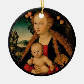 Virgin Child Under Apple Tree Cranach Ceramic Ornament