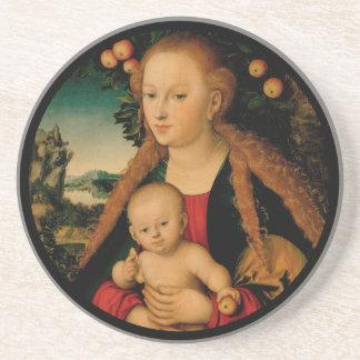 Virgin Child Under Apple Tree Cranach Coaster