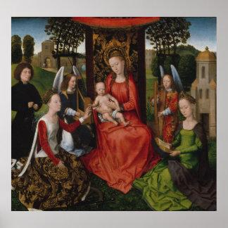 Virgin & Child with Saints Catherine of Alexandria Poster