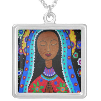 Virgin Guadalupe Painting by Prisarts Silver Plated Necklace