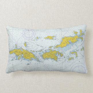 Virgin Islands natuical chart map Lumbar Pillow