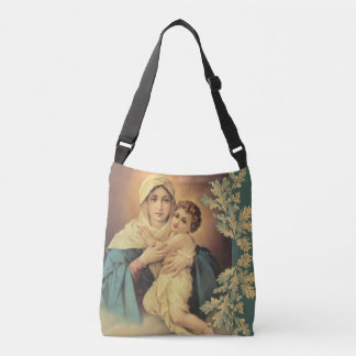 Virgin Madonna Mary with Baby Jesus Crossbody Bag