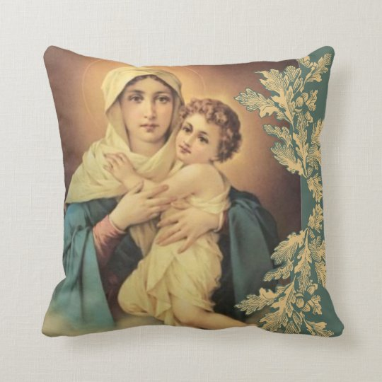 Virgin Madonna Mary with Baby Jesus Throw Pillow