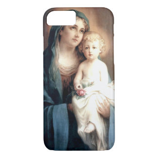 Virgin Madonna Mary with Christ Child Jesus Rose iPhone 7 Case