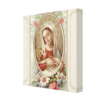 Virgin Madonna Mary with Christ Child Jesus Roses Canvas Print