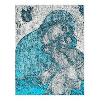 Virgin Mary and Infant Jesus Christ Vintage Blue Postcard