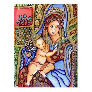 Virgin Mary and Jesus Child Painting Postcard