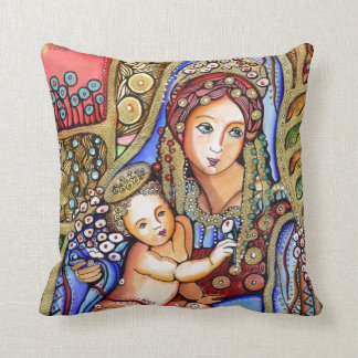 Virgin Mary and Jesus Child Throw Pillow