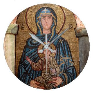 Virgin Mary And Jesus Mosaic Large Clock