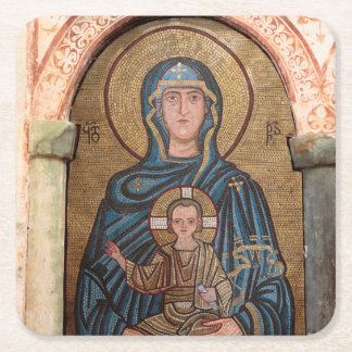 Virgin Mary And Jesus Mosaic Square Paper Coaster
