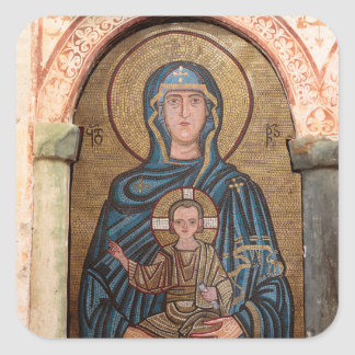 Virgin Mary And Jesus Mosaic Square Sticker