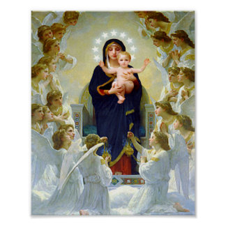 Virgin Mary & Angels with Baby Jesus Our Lady Poster