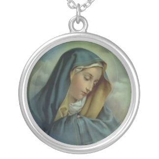Virgin Mary Assumption Silver Plated Necklace