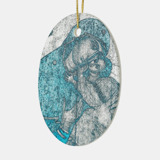 Virgin Mary Baby Jesus Angel Portrait Vintage Blue Ceramic Oval Ornament