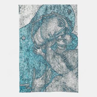 Virgin Mary Baby Jesus Angel Portrait Vintage Blue Kitchen Towel