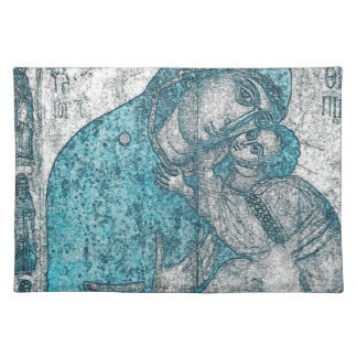 Virgin Mary Baby Jesus Angel Portrait Vintage Blue Placemat