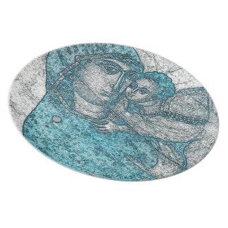 Virgin Mary Baby Jesus Angel Portrait Vintage Blue Plates