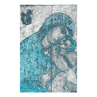 Virgin Mary Baby Jesus Angel Portrait Vintage Blue Stationery Design