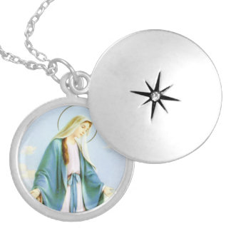 Virgin Mary Crescent Moon Round Locket Necklace