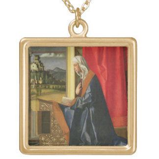 Virgin Mary, from The Annunciation diptych (oil on Gold Plated Necklace