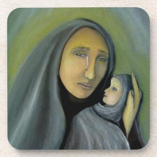 Virgin Mary Holding Baby Jesus Religious Xmas Coaster